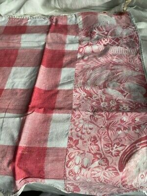 Antique Vichy Fabric Toile Panel Faded Pink Textile Period Drama Props /Projects