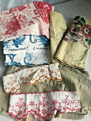 7pc Antique French Fabrics Furnishing Panels Red & Blue Floral Remnants projects