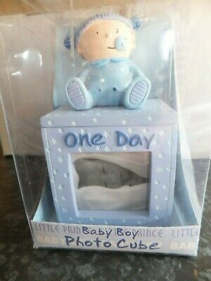 New unused Baby Boy Photo Cube, Christening, birth congratulations gift