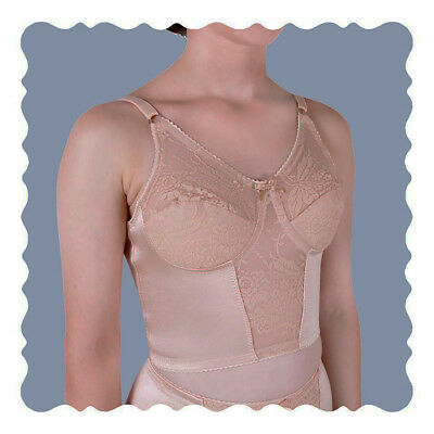 Longline Bra 42B Nude House of Satin Non-Wired Lace Covered Adjustable Straps