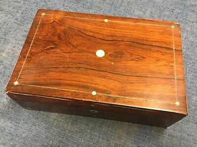 Antique Rosewood Writing Slope Box - In Need Of Restoration