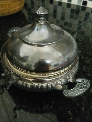 Antique Victorian Hartford Quadruple Silver Plate Co 1421 Butter Server with Lid