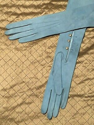 Vintage Light Blue Kid Leather Elbow Length Opera Gloves. Dents. Size 6 3/4
