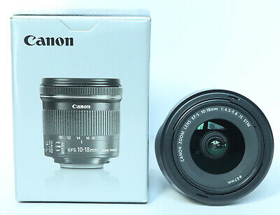 Canon EF-S 10-18mm F/4.5-5.6 IS STM Lens w/Hood-Pristine cosmetic & mechanically