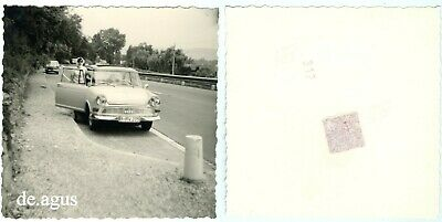 Vintage Photo circa 1960s young Woman with DKW Junior DeLuxe, highway