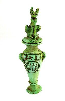 Pretty Ancient Egyptian Faience Kohl make up Vessel Bastet antique hieroglyphic