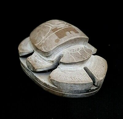 Scarab Egyptian Ancient Stone Carved Bead Bc Antique Artifact Seal hieroglyphic