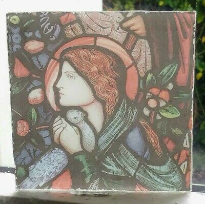 Stained Glass - Pre-Raphaelite Lady & Dove fired.transfer pane