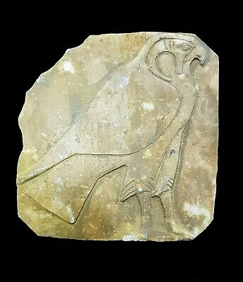 Rare Egyptian Horus Relief Sculpture Plaque Ancient Wall God Falcon stone carved