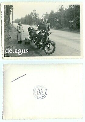 Vintage Photo circa 1950s young people with Motorbikes,highway