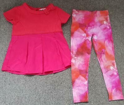 Girls, Ted Baker 2 Piece Outfit, Top & Leggings, Dark Pink And Floral, 2-3 Years