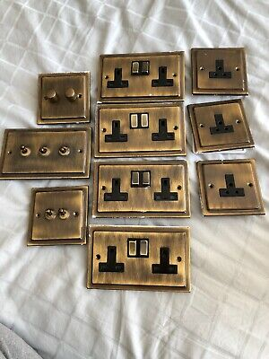 Victorian Antique Brass Effect Face Electrical Plates Bundle Light Switches