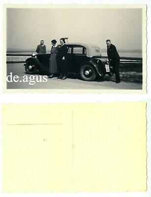 Vintage Postcard Photo circa 1950s People with classic car