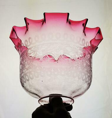Victorian Cranberry Etched Engraved Glass Kerosene Paraffin Oil Gas Lamp Shade
