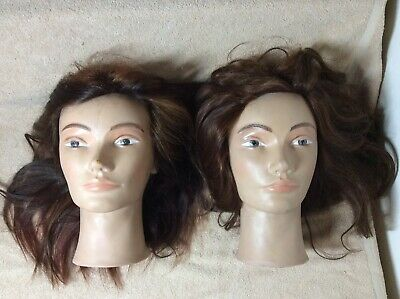 Lot of 2 Mannequin Heads Female Viola Pivot Point Brown Red Streaks Long Hair