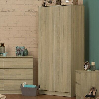 Two Door Double Wardrobe. Rustic Oak effect. Modern design. Fixed shelf & Rail.