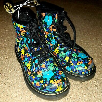 Dr Martens Air Wair Delaney Bright Floral Side Zip Ankle Boots Girls size 12 VGC