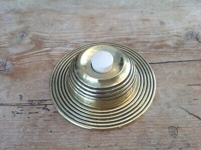 Antique Victorian Brass Beehive Door Bell With Porcelian Press Button