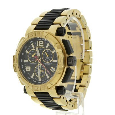 Invicta Men's 1871 Reserve Chronograph Black Dial 18K Gold Ion-Plated SS Watch