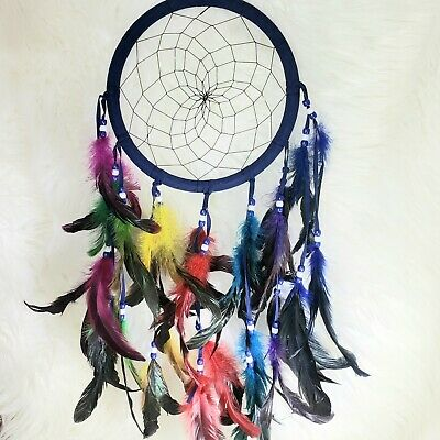 "Navy Blue Velvet Dream Catcher 9""x24"" Beaded Feathers Black Web Midnight Colors"