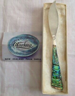 Beautiful Sterling Silver Small Butter Knife With NZ Paua Shell Handle-Ataahua