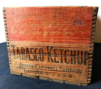 Antique CAMPBELL Tabasco Ketchup Wooden CRATE Soup Primitive VTG Camden NJ Wood