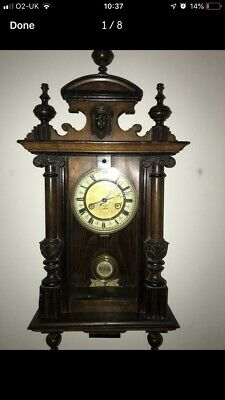 antique chiming wall clock Carved Case
