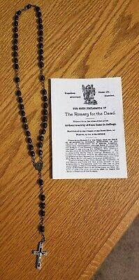 RARE OLD ROSARY FOR THE DEAD French France With Prayer Sheet Vintage 40 Bead