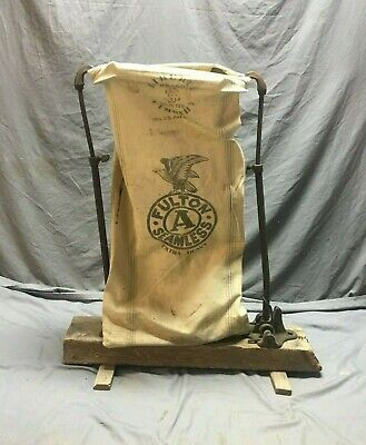 Antique Feed Bag Filler Country Store Waste Basket Recyclable Laundry  366-19J