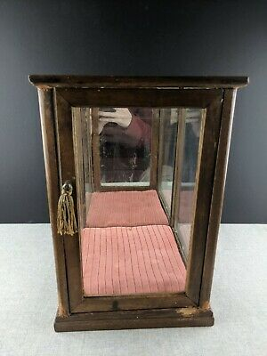 Antique Mahogany Glass Tall Tower Counter Top Display Case