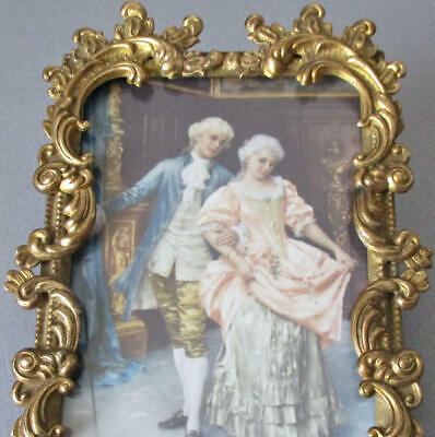 """Antique Petite 8"""" GILT Gilt Brass Frame SCROLLS w Easel * Rococo FRENCH Couple"""