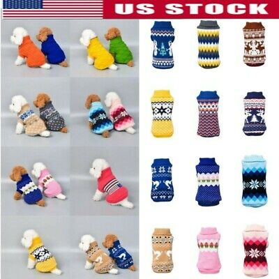 Pet Cat Dog Winter Knitted Jumper Sweater Warm Coat Jacket Puppy Clothes Apparel