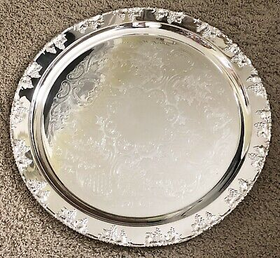 "Vintage 21"" Large Round SilverPlate Crescent Moselle Grape Platter Serving Tray"