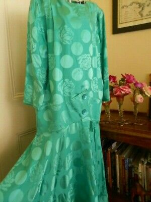 VINTAGE 1980's PURE SILK GREEN DRESS BY BOWIES