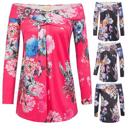 Womens Floral Pattern Long Sleeve Off Shoulder T-Shirt Tops Curved Hem Elastic