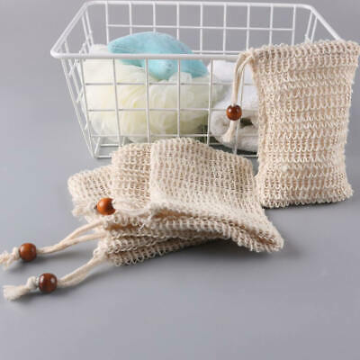 Natural Sisal Soap Bag Soap Saver Net Mesh Exfoliator Foaming Pouch UK Seller