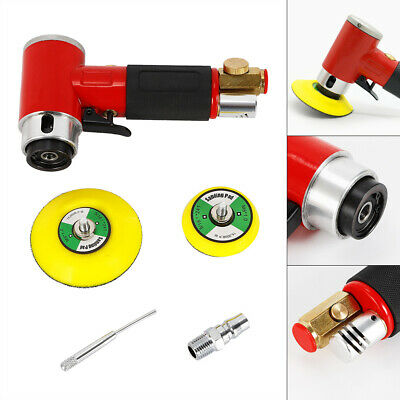90° Angle Mini Air Sander Pneumatic Polisher Grinder Car Grinding Machine+2 pads