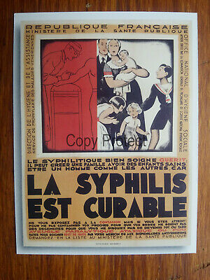 LA SYPHILIS EST CURABLE Office national Hygiéne Sociale Publicité advert