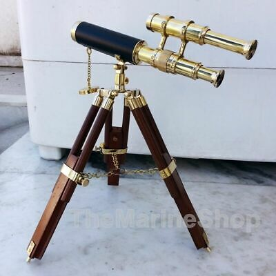 Collectible Brass Telescope Tripod Wooden Vintage Style Spyglass Antique Gift
