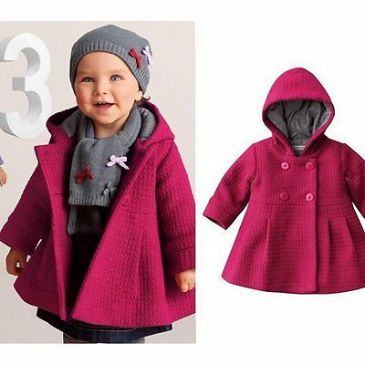 Toddler Kids Baby Girls Winter Warm Trench Coat Hooded Outerwear Jacket