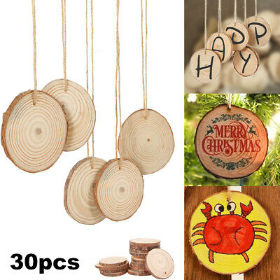 30pcs DIY Wood Slices Round For Christmas Tree Decorations Ornaments Natural Log