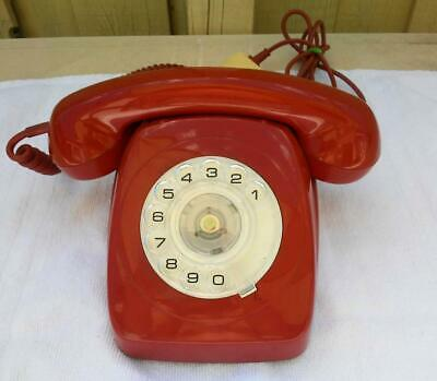 Vintage Red Rotary Dial PMG 802 Telephone c.1971