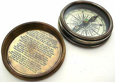 Antique Nautical Frost Poem Compass-Pocket Compass w/Leather Case