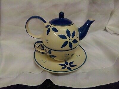 Tea For One Set..whittard..blue And White.