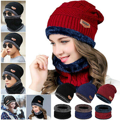 Men Women Winter Beanie Hat+Scarf Fleece Lining Warm Balaclava Knit Snow Ski Cap