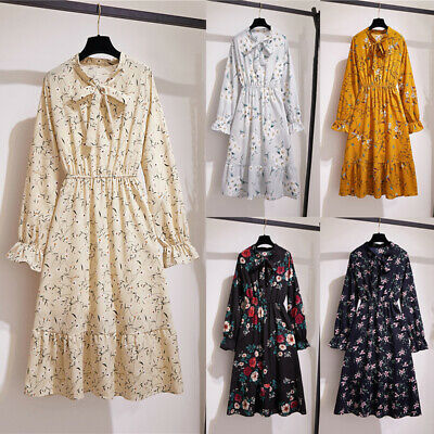 Womens Boho Floral Shirt Dress Long Sleeve Vintage Lady Casual Party Knee Skirt