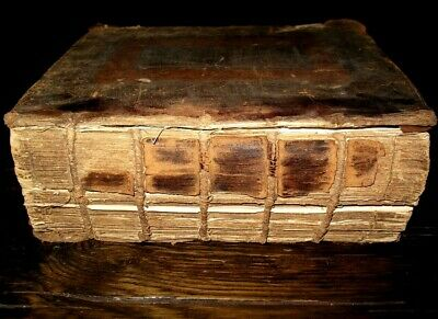 1751 HOLY BIBLE Family LEATHER Antique BASKETT Book Common Prayer HISCUTT MARTYN