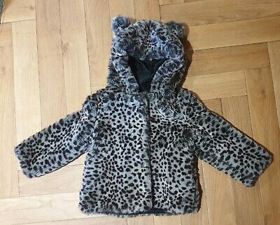 M&S Faux Fur Coat. M&S Baby girls coat. Leopard print fur coat. 18-24 mth