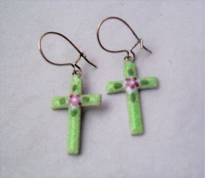 Vintage Cross Earrings Guilloche Enamel -Sterling Silver Wire-Green/Pink Flower