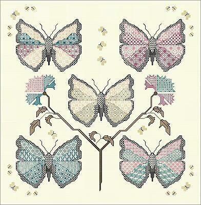 DoodleCraft - Cross Stitch & Blackwork kit - Calico Butterflies - With hand dyed